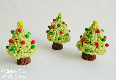 we got a big box of candy from sweetworks wanted to make a cute christmas treat using them we created these rice krispies treats trees we had so much - Rice Crispy Treats For Christmas