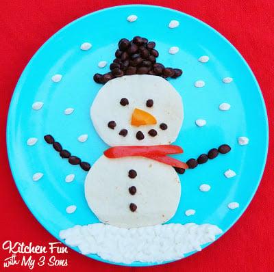 Christmas Snowman Quesadilla
