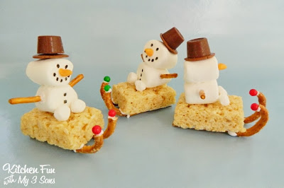 Snowman Marshmallow Rice Krispies Treats
