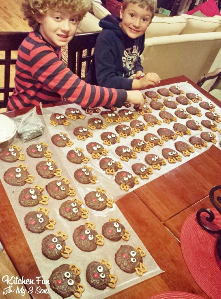 Here are my boys creating their fun Rudolph Cookies