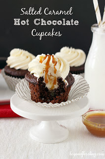 Salted Caramel Hot Cocoa Cupcakes