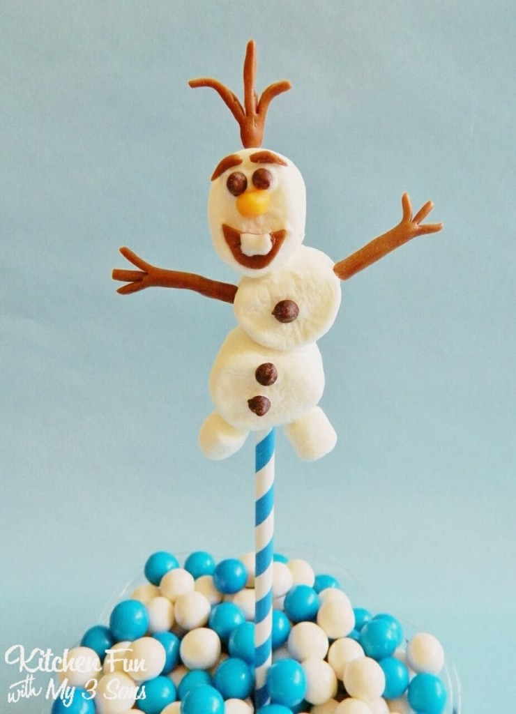Easy Olaf Marshmallow Pop Close up