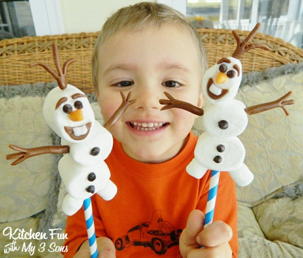 Kitchen Fun And Crafty Friday Link Party 167: Easy Olaf Marshmallow Pops From The Disney Movie Frozen