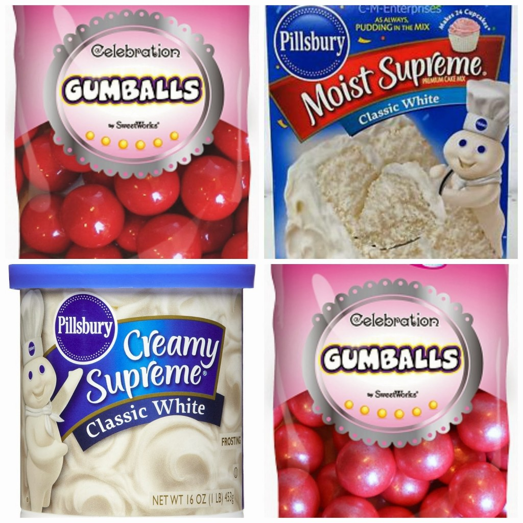 Gumballs, Frosting and Cake Mix