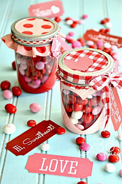 Valentine Mason Candy Jar Gifts with a Free Printable