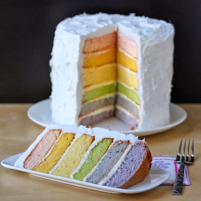 Natural Colored Rainbow Cake