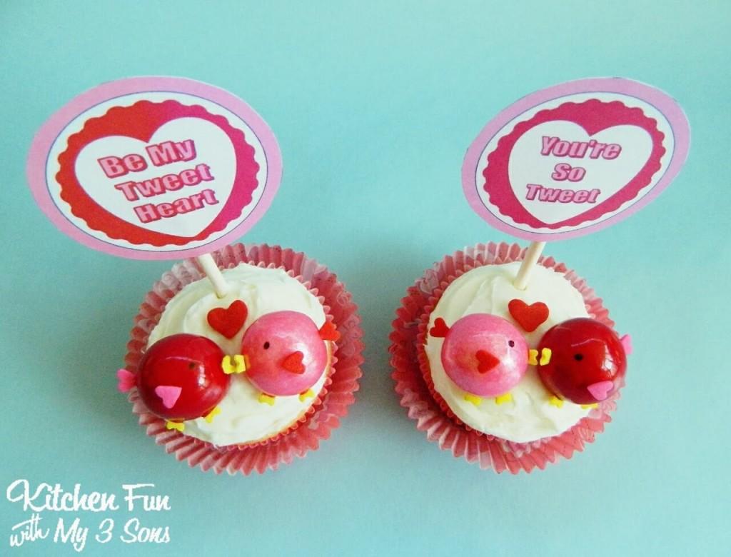 Valentine Love Birds Cupcakes with FREE Printables!