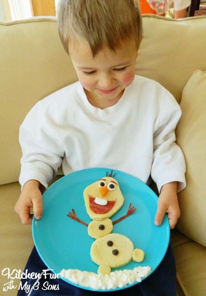 He was SO excited to get his Olaf Pancakes & couldn't stop smiling at it!