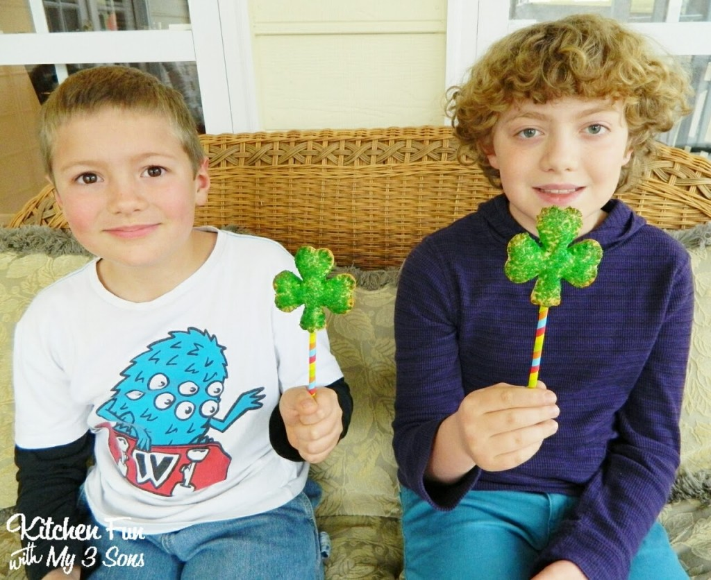 Here are my 2 older boys with their fun Shamrock Pie Pops