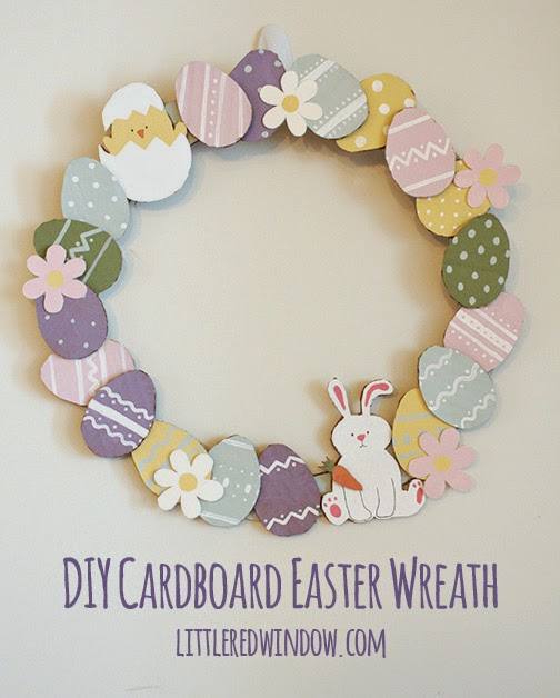 DIY Cardboard Easter Wreath