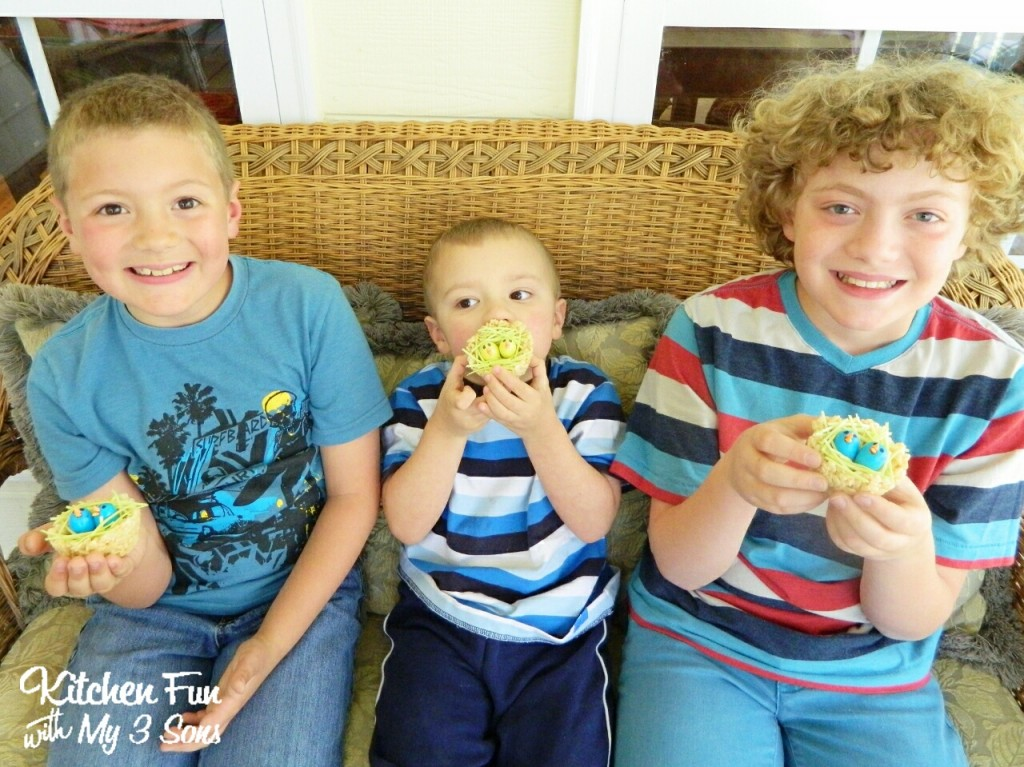 Here are my 3 boys with their Rice Krispies Baby Bird Nests