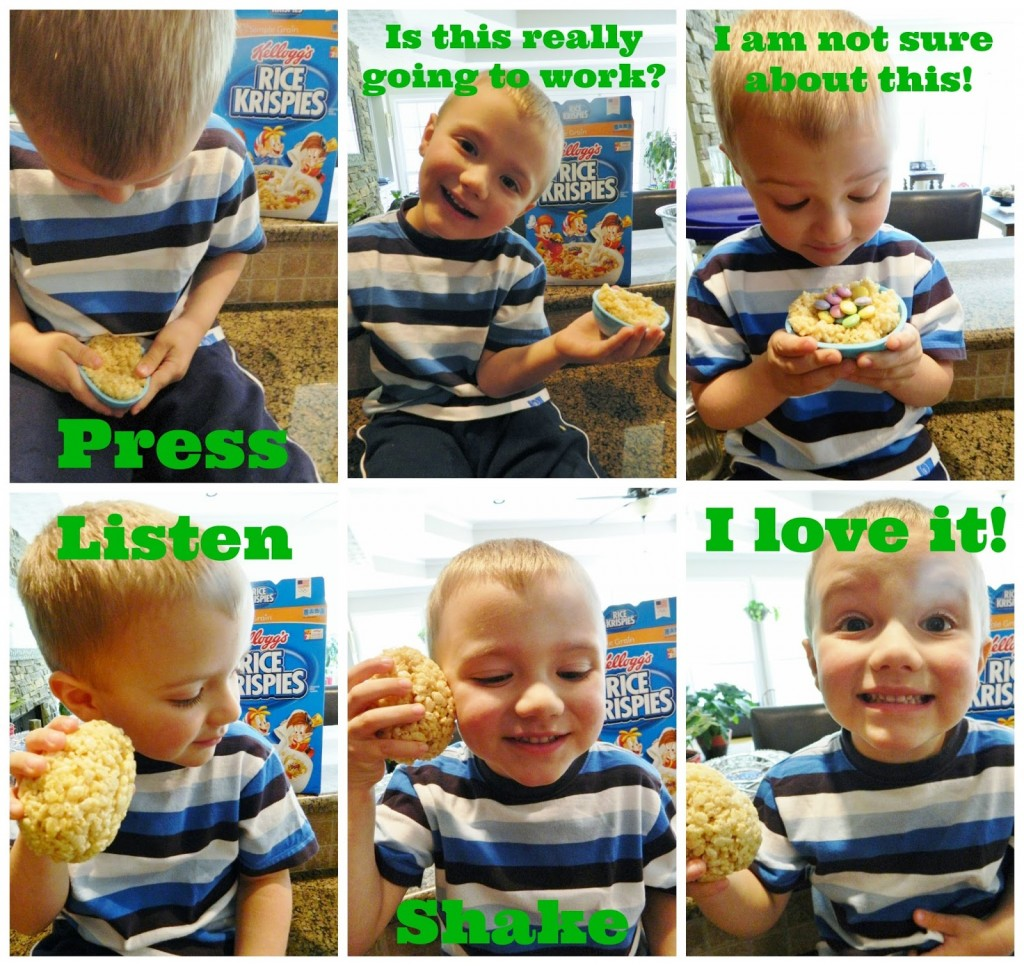 Here is his experience with making his fun Rice Krispies Treat Egg