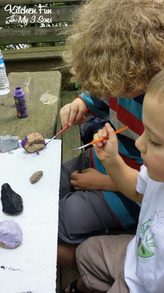 I also packed up some paints for the boys to make monster rocks