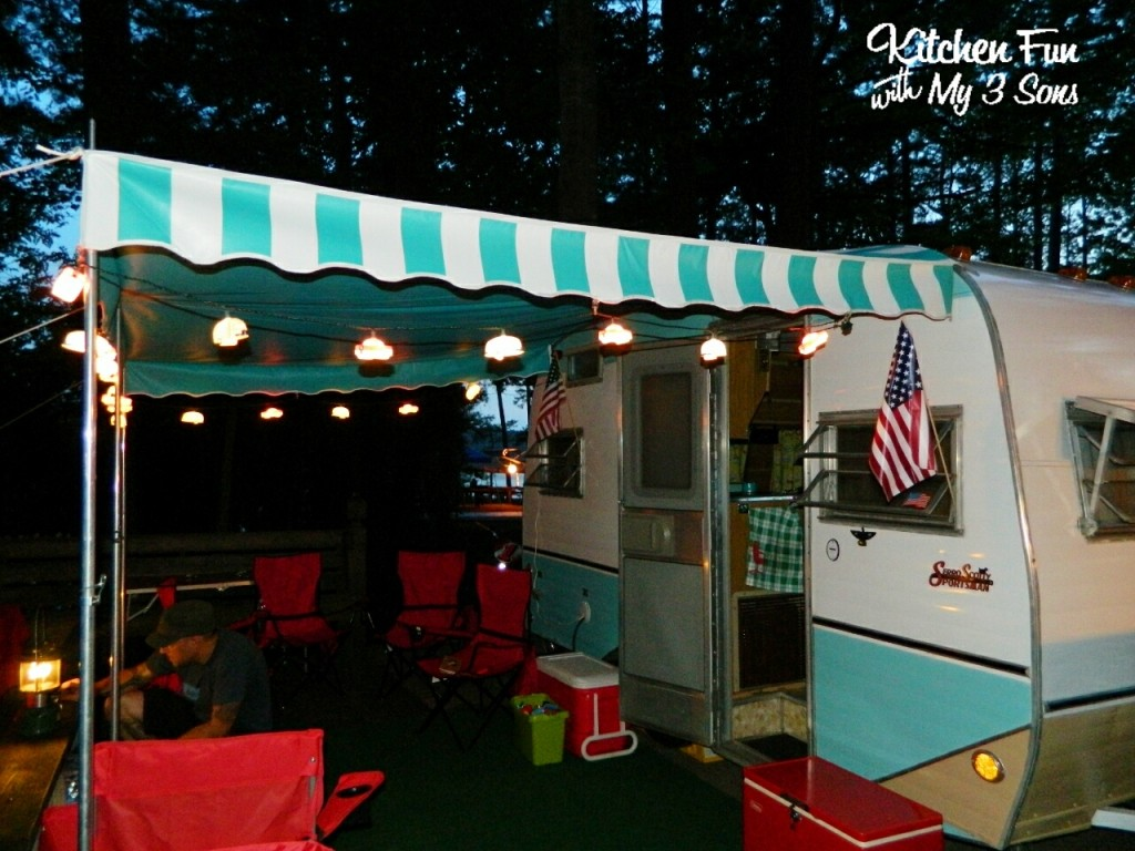 My favorite part of camping is sitting out at night with my husband just talking outside of our cute little retro camper!