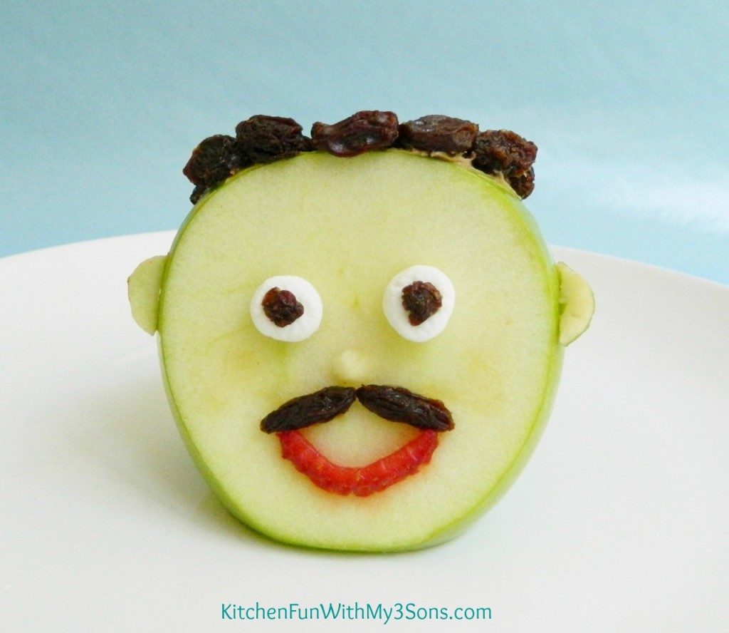 Give dad a mustache by cutting a raisin in half & pressing on the front