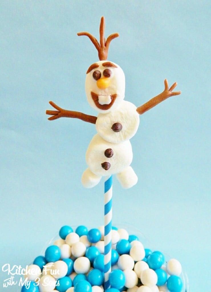 Easy Olaf Marshmallow Pops