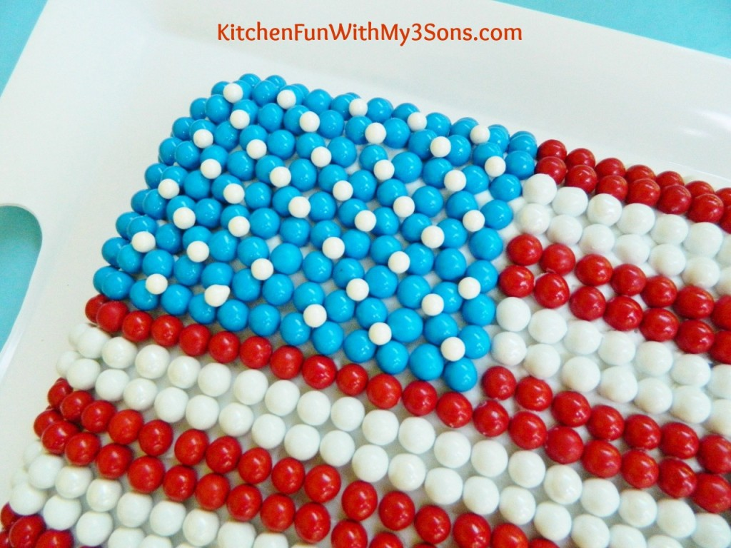 4th of July Flag Cake made with Sixlets!