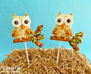 Fall Owl Rice Krispie Treat Pops
