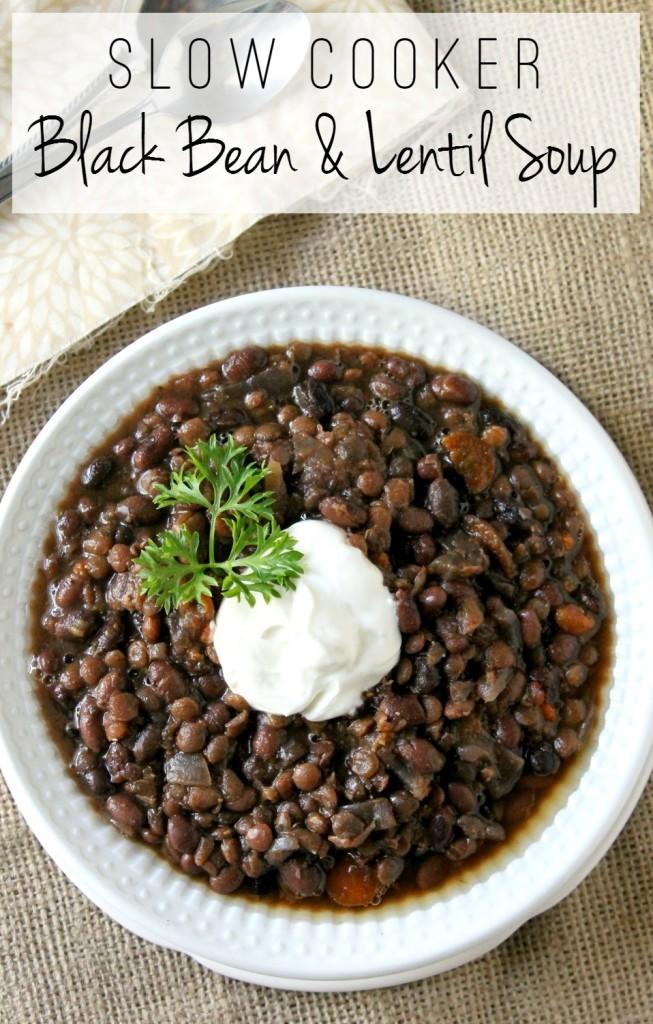 Slow Cookier Black Bean & Lentil Soup