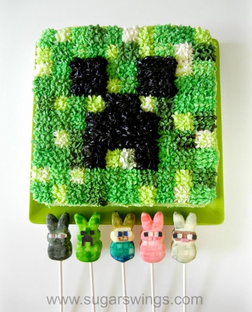 Mindcraft Cake & Peeps