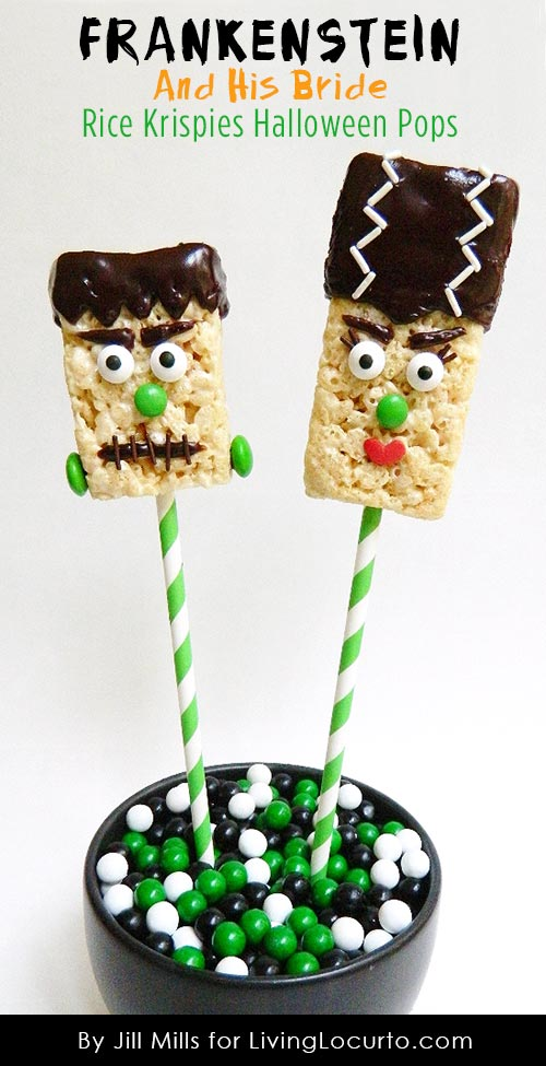 we are sharing these fun frankenstein his bride rice krispies treat