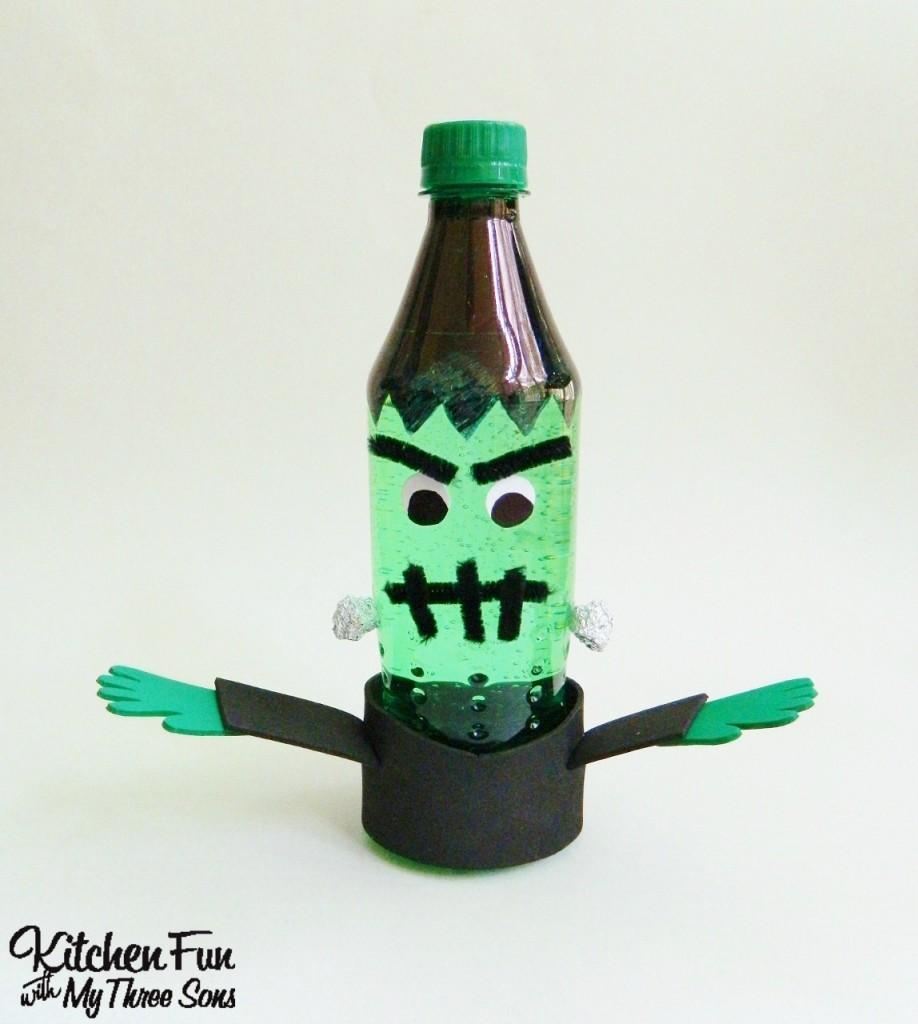 Halloween Frankenstein Sprite Bottle Craft