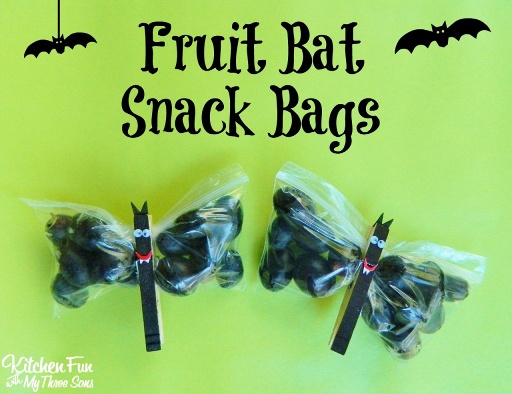 Halloween Fruit Bat Snack Bags - Kitchen Fun With My 3 Sons