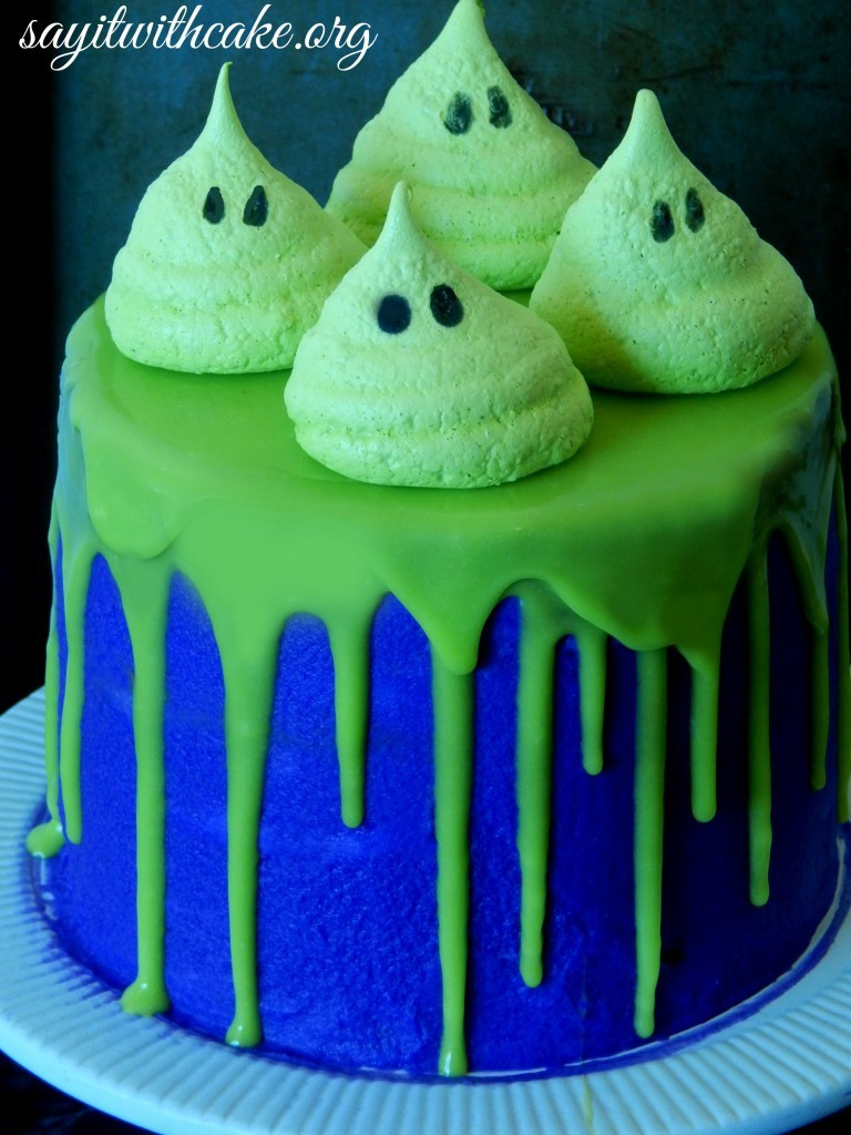 Halloween Cake with Meringue Ghosts