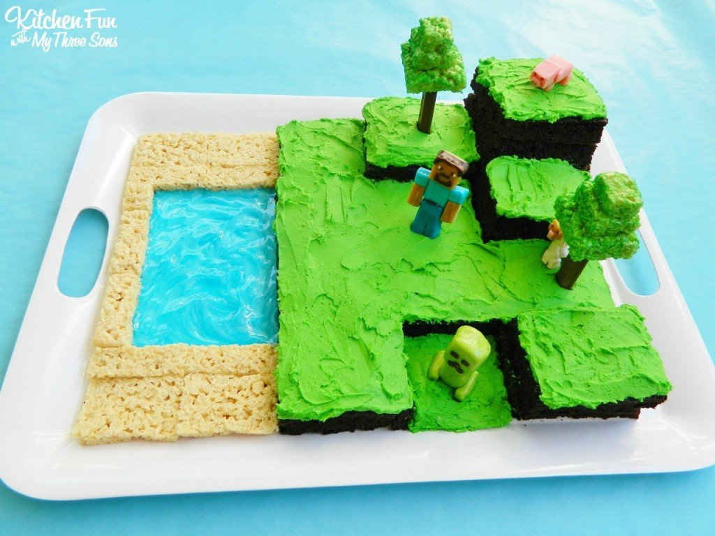 Easy Minecraft Birthday Party Cake Kitchen Fun With My 3 Sons