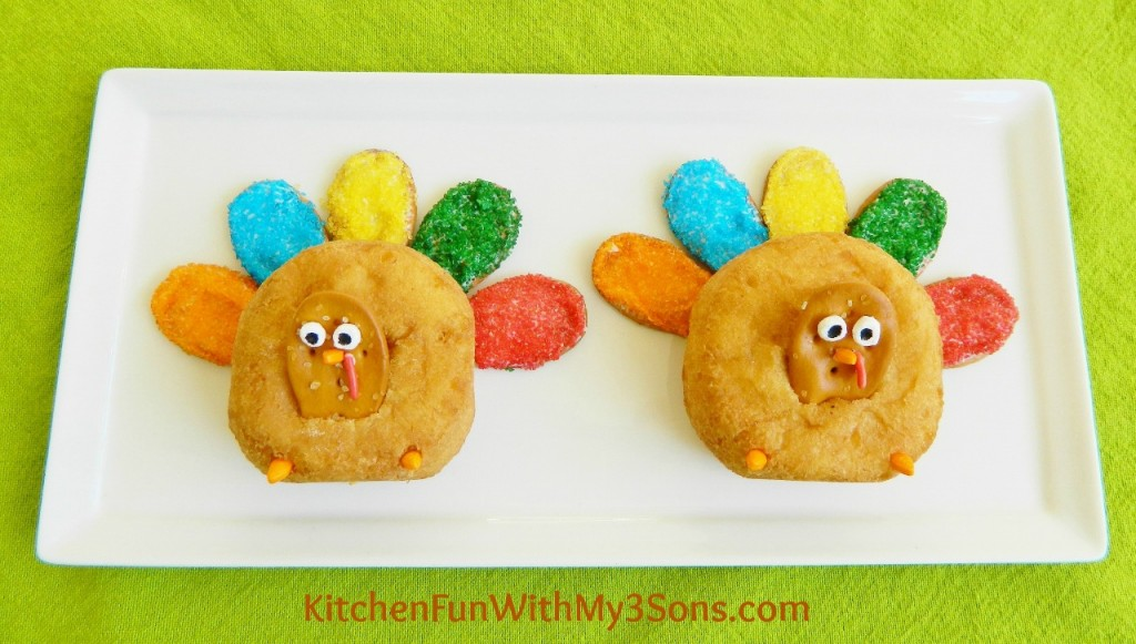 Turkey Donuts...a fun Thanksgiving treat for the kids and for class parties at school from KitchenFunWithMy3Sons.com