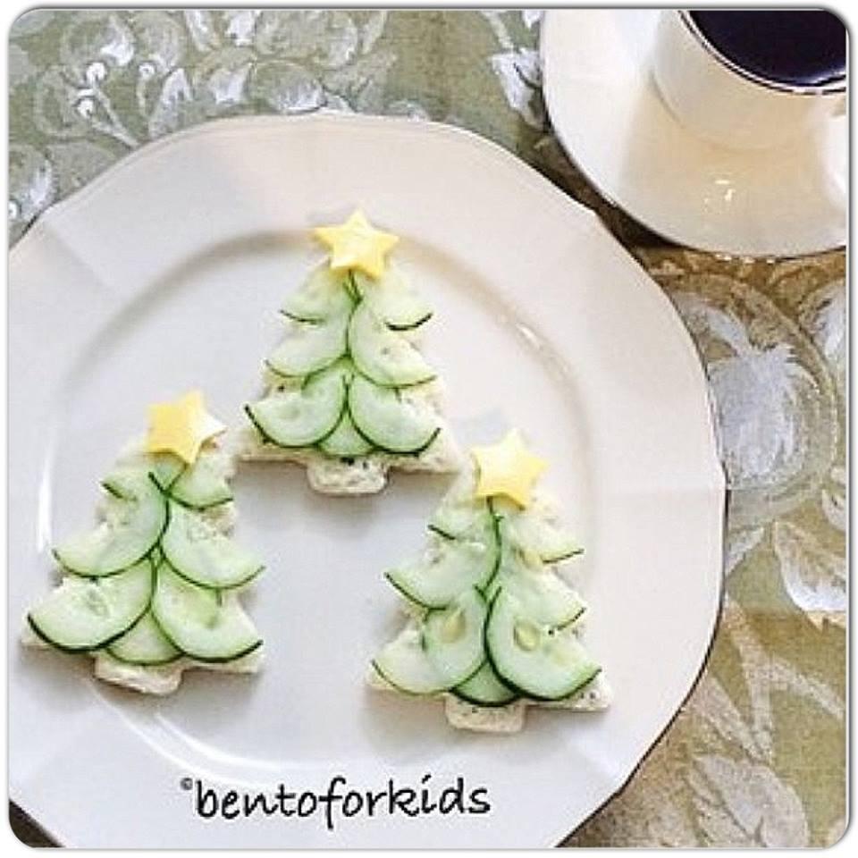 Christmas Cream Cheese Cucumber Tea Tree Sandwiches