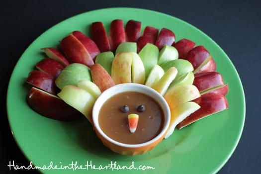 Turkey Fruit Platter with Caramel Dip