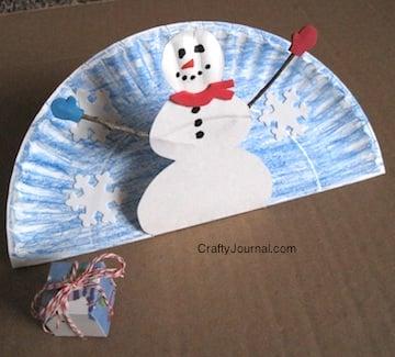 Snowman Pop Up Paper Plate Craft
