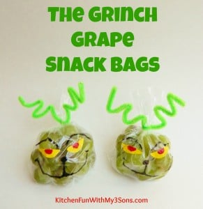 The Grinch Grape Snack Bags for Christmas Class Parties at School!