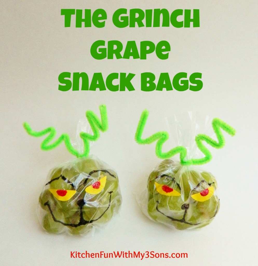Christmas Treats For School Parties.The Grinch Grape Snack Bags For Christmas Class Parties At