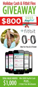 Huge Holiday CASH and Fitbit Flex Wristband Giveaway worth $1,000!