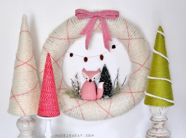 Fox Yarn Holiday Wreath