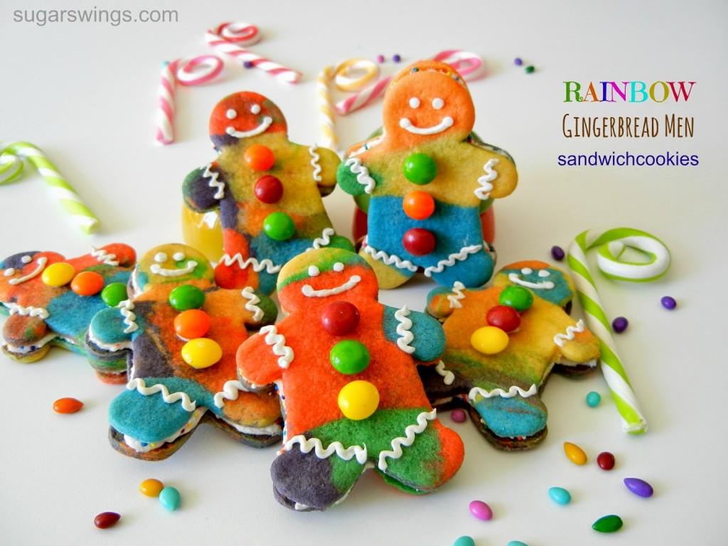 Rainbow Gingerbread Man Sandwich Cookies