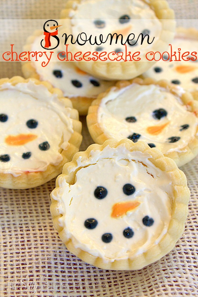 Snowman Cherry Cheesecakes
