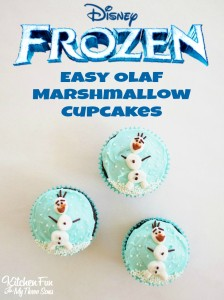 Easy Frozen Olaf Marshmallow Cupcakes