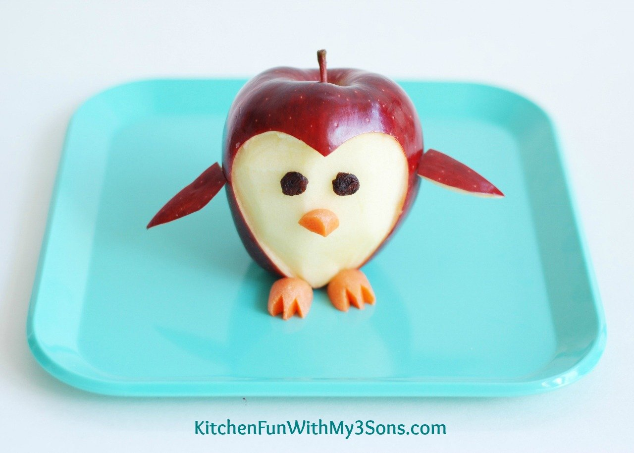 Penguin Apple Fruit Snack - Kitchen Fun With My 3 Sons