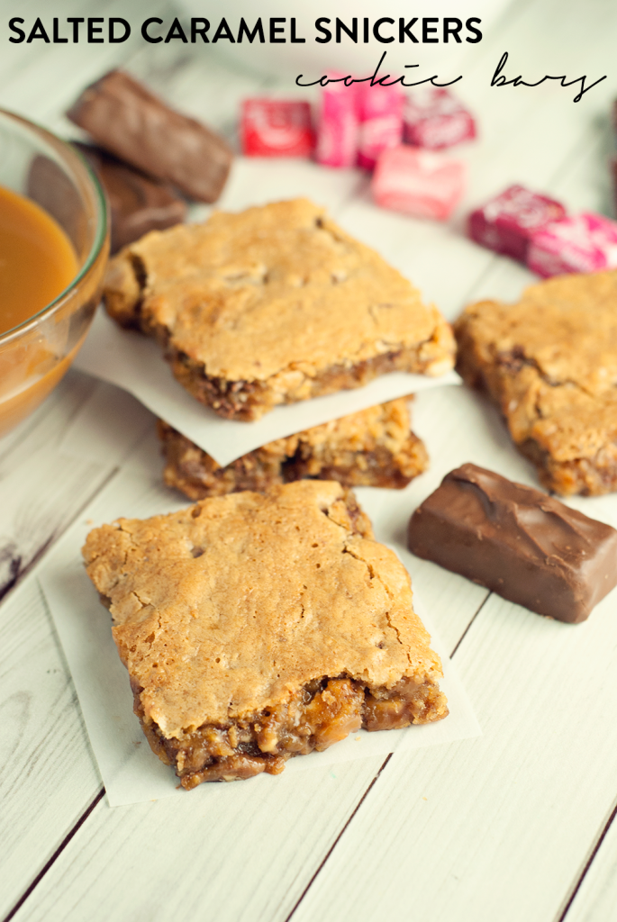Salted Caramel Snickers Cookie Bars