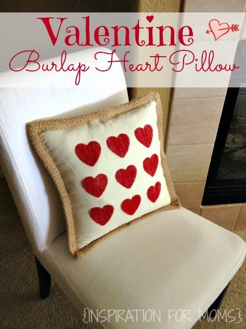 No Sew Burlap Valentine Heart Pillow