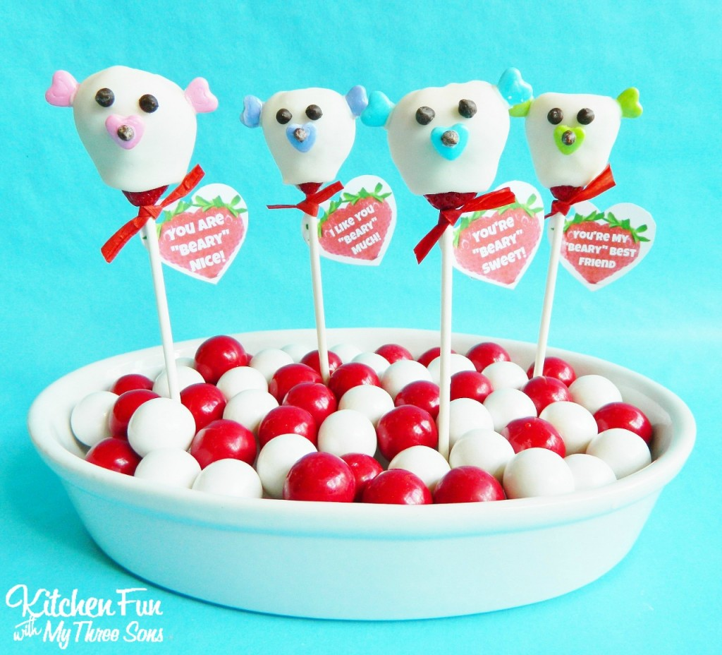Valentine Chocolate Covered Strawberry Bear Pops with FREE Printable! KitchenFunWithMy3Sons.com
