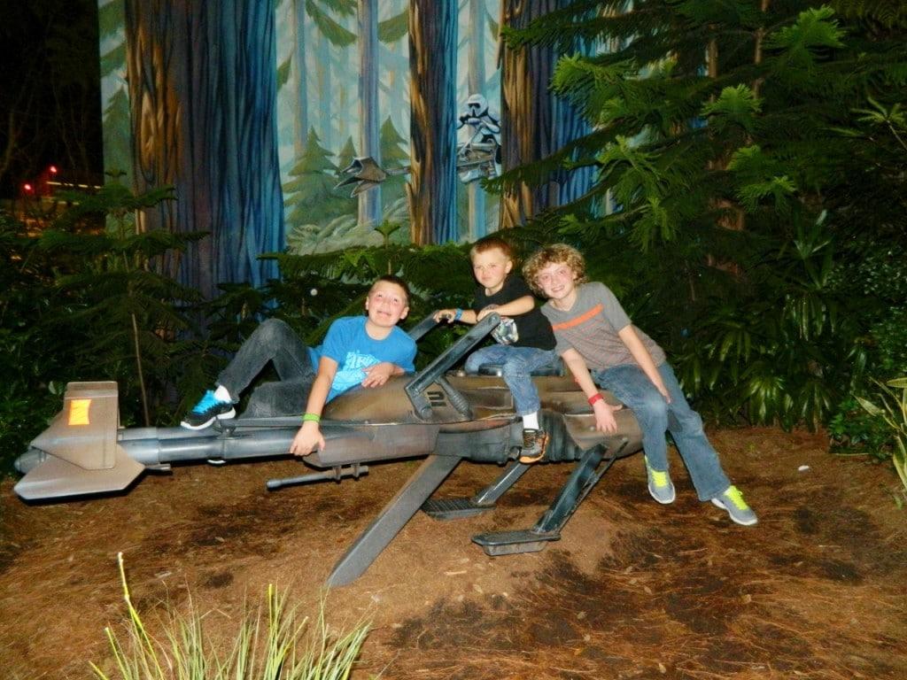 My boys flew around on their Star Wars Speeder Bike...