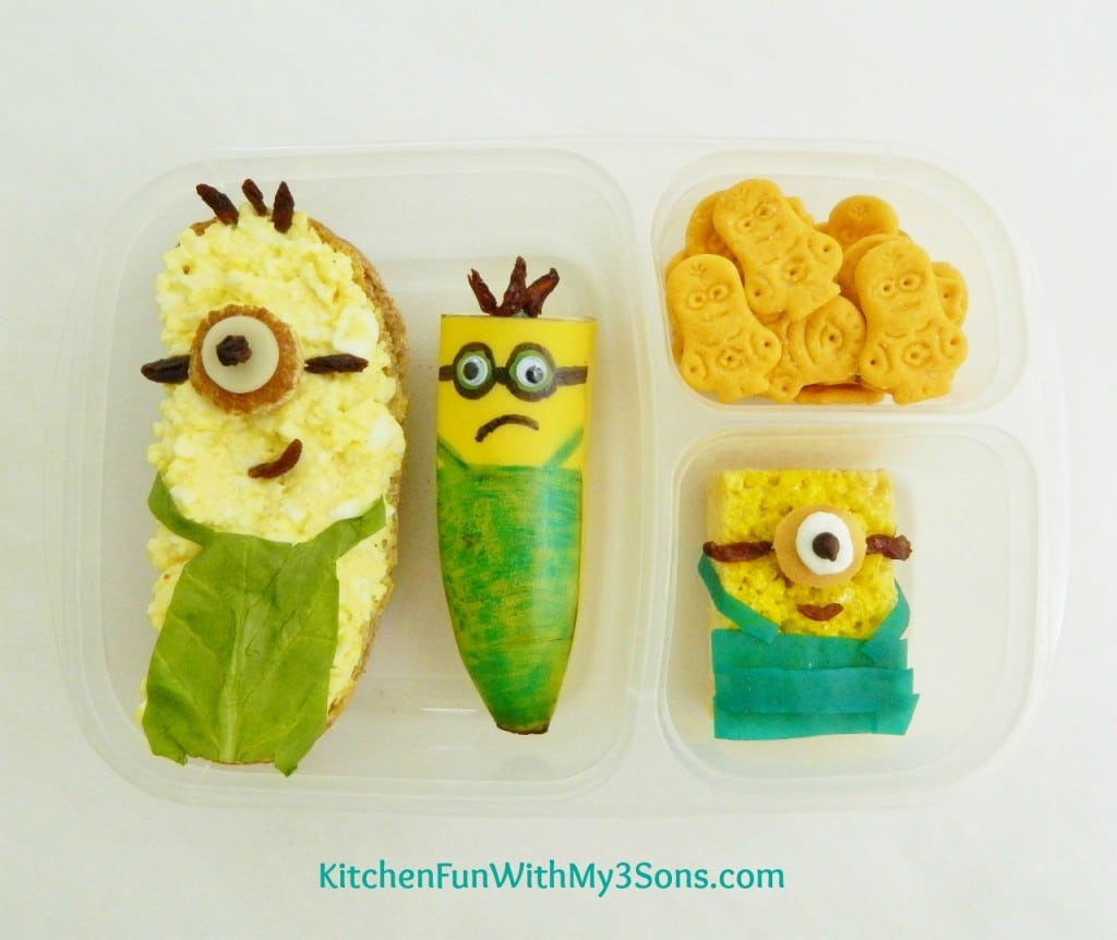 Despicable Me Minion Bento from KitchenFunWithMy3Sons.com