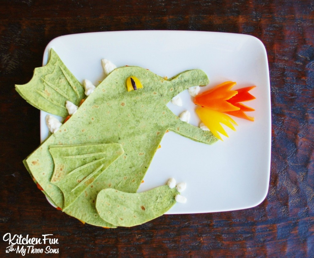 Dragon Veggie Quesadilla from KitchenFunWithMy3Sons.com