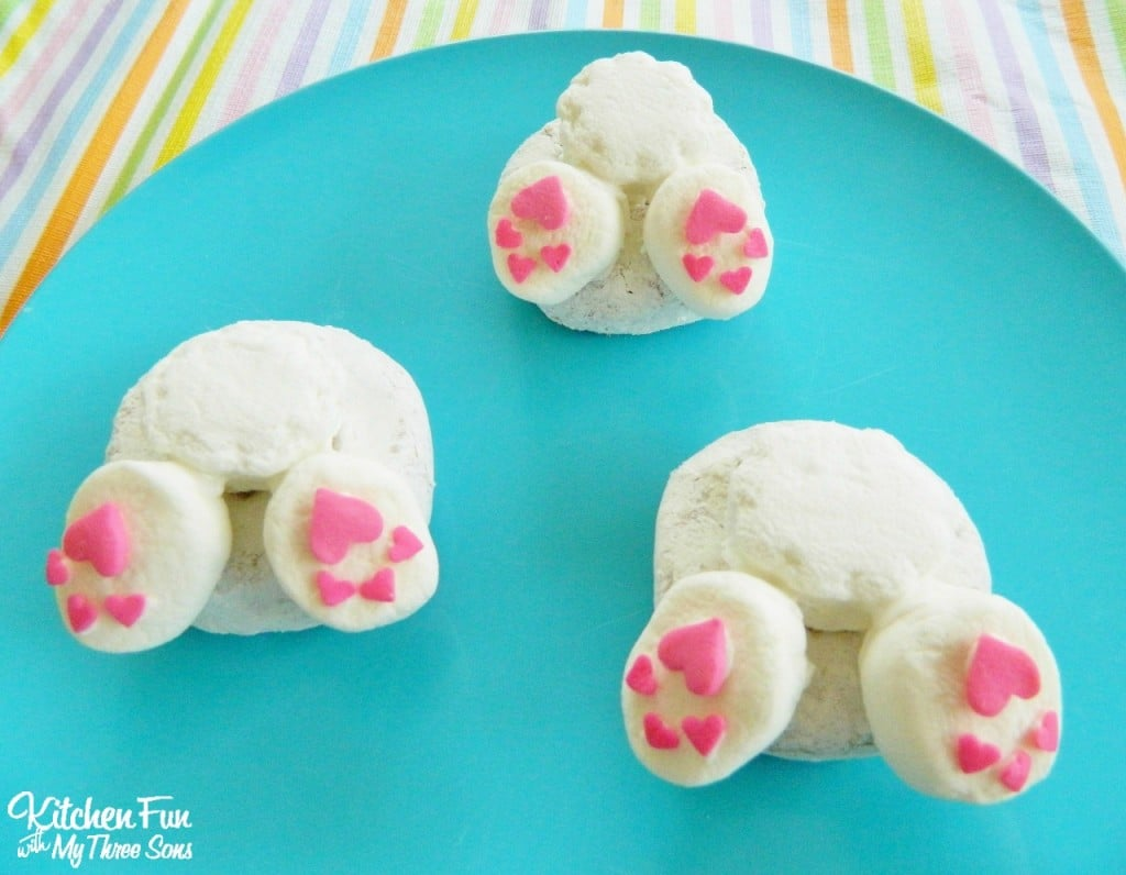 Bunny Butt Donuts for a Preschool Easter Party! KitchenFunWithMy3Sons.com