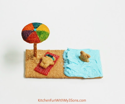 "Easy Teddy Bear Beach Cookies & a ""beary"" cute party! KitchenFunWithMy3Sons.com"