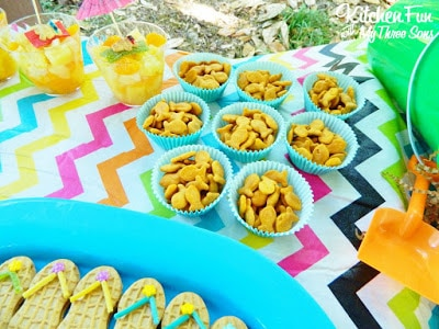We added gold fish crackers to blue cupcakes liners that looked pretty cute